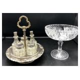 Silverplated 5-piece Castor Set & Compote