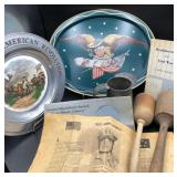 2 Antique Pestles, Pewter Plate & more