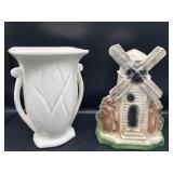 Vintage McCoy Vase & Chalkware Windmill