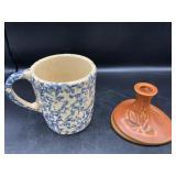 Roseville Pottery Silhouette Candle Holder & Mug