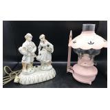 Porcelain Figural Victorian Lamp & Bracket Lamp