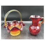 Amberina Glass Basket & Crackle Glass Pitcher