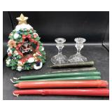 Musical Santa/Tree, Candle Holders & Candles