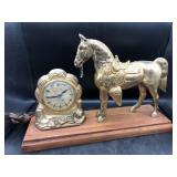 Vintage United Self Starting Horse Mantle Clock