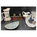 Delft Bowl, Norman Rockwell Plate, Buffalo Pottery