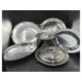 Silverplated Platters, Bowls, Compote