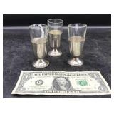 Three Sterling Silver Cordial Glasses