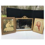 Vintage Framed Portraits & Ornate Mirror