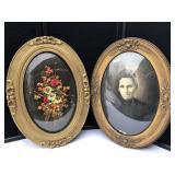 Vintage Ornate Framed Portrait & Floral Dried