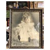 Antique Little Girl Pastel in Frame