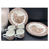 English Abby Serving Bowl & Currier & Ives Plates