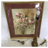 Large Floral Print, Banquet Lamp & Millenium Rose