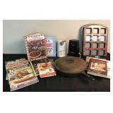 Vintage Cookbooks, Cast Iron Skillet & Kitchen Ite