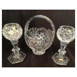 Lead Crystal Basket & Cut Glass Candlestick Holder