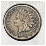 1863 INDIAN HEAD CENT  XF