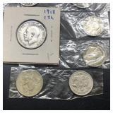 FOREIGN SILVER COINS &BELT BUCKLE