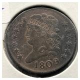 1809 HALF CENT OVER INVERTED 9