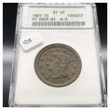 1851 /81 LARGE CENT ANAX XF45