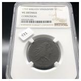1793 WREATH CENT NGC VG   2ND COIN MINTED AT US MI