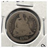 1876 CC SEATED DIME  AG
