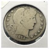 1913 D BARBER HALF DOLLAR  G