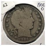 1906 D BARBER HALF DOLLAR  G