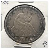 1855 O SEATED HALF DOLLAR  VF