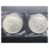 TWO PEACE DOLLARS