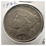 1922 PEACE DOLLAR  VF