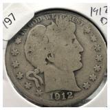 1912 D BARBER HALF DOLLAR  G