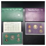TWO PROOF SETS 1985 1995