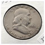 1953 S FRANKLIN HALF DOLLAR  VF
