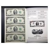 UNCUT SHEET OF TWO DOLLAR BILS