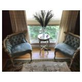 Matching pair of French one arm parlor chairs