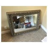 Large beveled gold leaf mirror