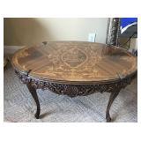 Vintage French Walnut inlay scroll coffee table