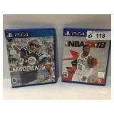 (2) PS4 Games NBA 2K18, Madden17