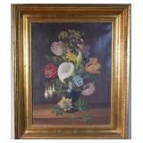 1879 Christian J Mollback Floral Still-life O/C