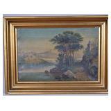 19th C. Italian Landscape OC Framed