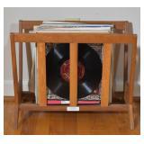 Oak Mid-Century Modern Magazine Rack w/ Records