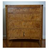 Tiger Maple Bow-Front 4-Drawer Chest w/ Inlay Work