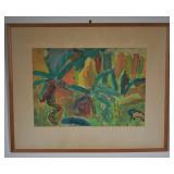 Vibeke Olver Watercolor on Paper Framed