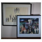 2 pcs.  Aase Vaslow Original Mixed Media Collages