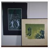 2 pcs. Aase Vaslow Original Mixed Media Prints
