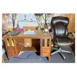 Mission Oak Desk w/ Office Chair & Accessories