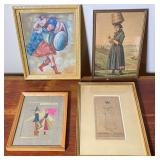 4 pcs. Framed Original Art & Art Prints