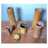 Fred Vaslow Carved Art Wood Pillar / Vases