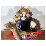 Basket Full of Hand Made Plush Art Dolls