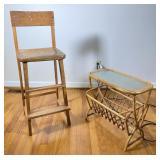 2 pcs. Antique High Chair & Vintage Side Table