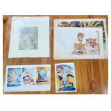 Group of Original Art Prints & Drawings